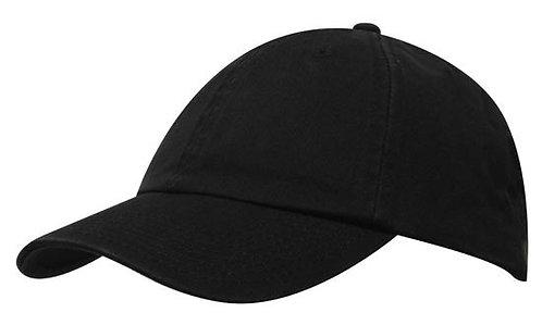 Washed Chino Twill Cap Black- MOQ 10