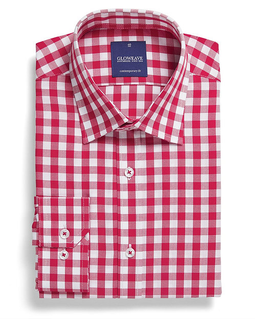 Mens Oxford Gingham Shirt Red