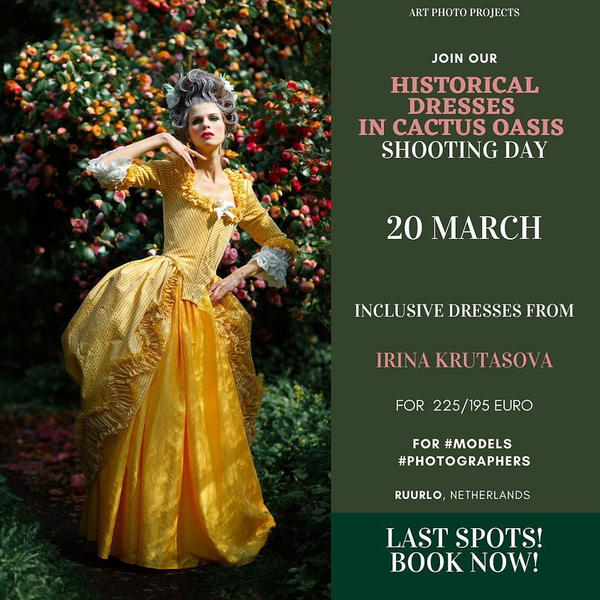 Historical dresses in cactus oasis shooting day