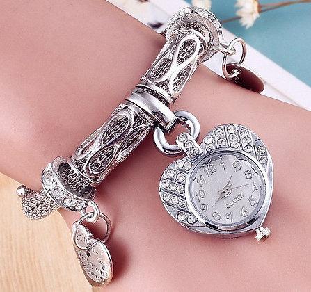 Women Wrist Watch with Rhinestone Charms
