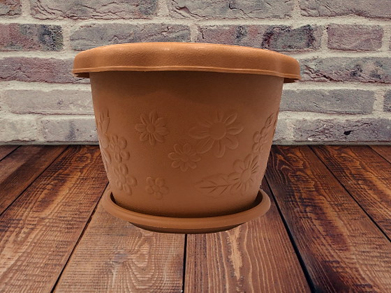Circular Plant Pot with Tray-Flowered