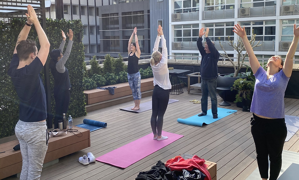 Yoga with team UEC in Sydney
