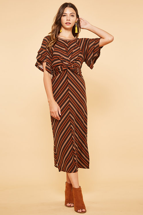 RUFFLE SLEEVE STRIPED KNIT MAXI DRESS