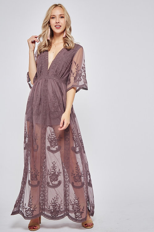 SHEER EMBROIDERED LACE LINED MAXI DRESS