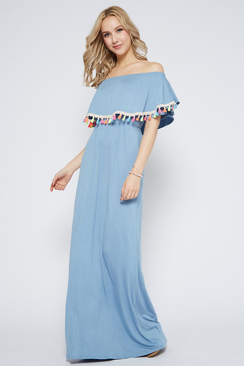 POM TRIM OFF SHOULDER MAXI DRESS