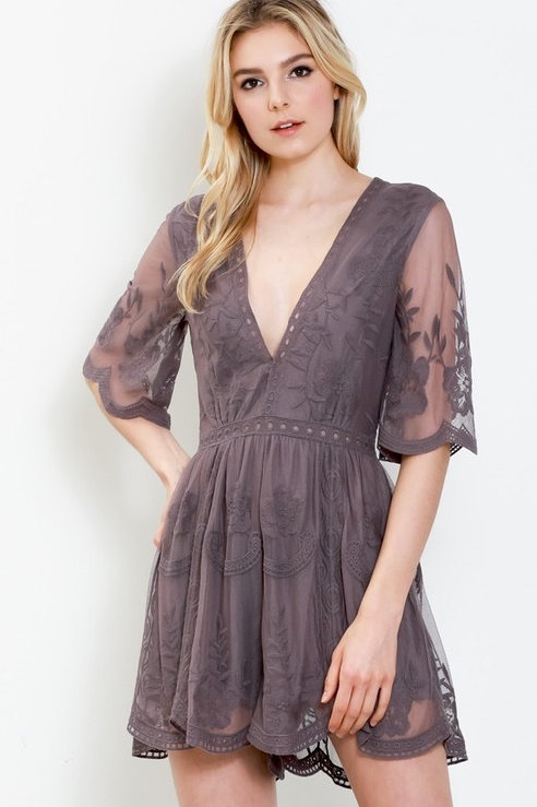 EMBROIDERED LACE LINED MINI ROMPER
