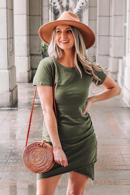 OLIVE YOUR RUCHED WRAP DRESS