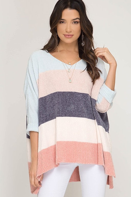 CHENILLE COLOR BLOCKED SWEATER