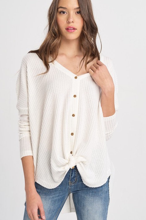LONG SLEEVE THERMAL BUTTON DOWN SWEATER