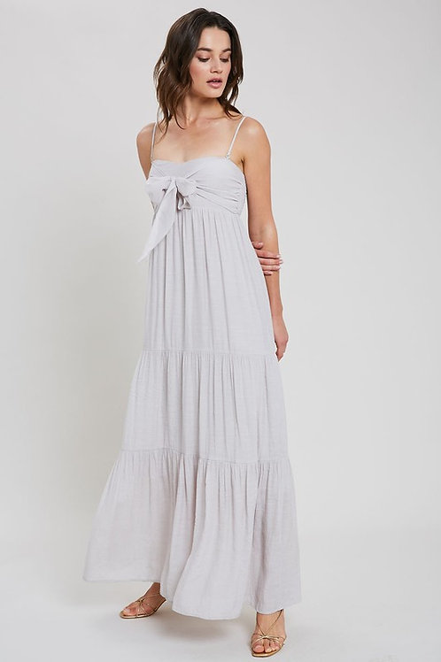 TIE-FRONT TIERED MAXI DRESS