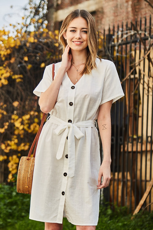 FRONT BUTTON MIDI DRESS