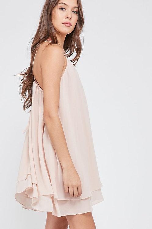 DOUBLE LAYERED V-NECK SLEEVELESS DRESS