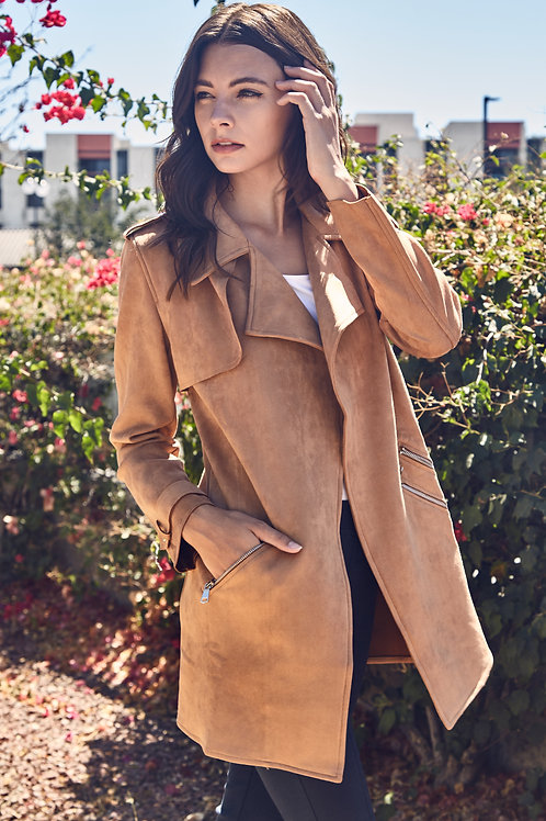 LINDSAY SUEDE TRENCH COAT