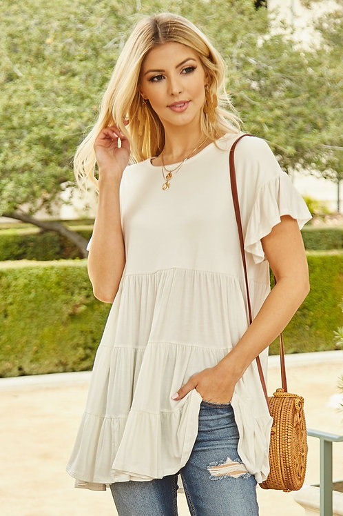 SOLID BABY DOLL TUNIC TOP