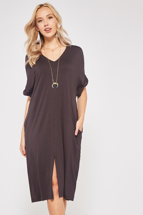 LOOSE FRONT SLIT DRESS WITH POCKETS