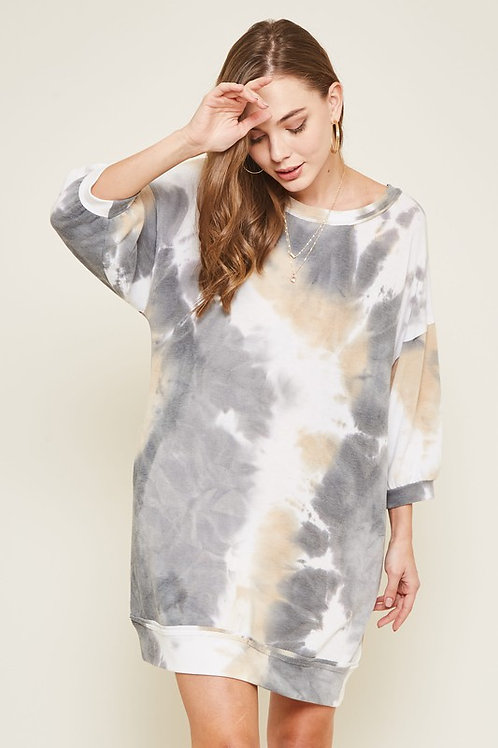 TIE-DYE PRINT MINI LOOSE FIT SWEATER DRESS