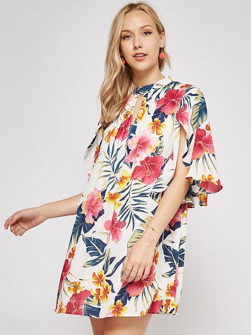 FLORAL KEYHOLE DRESS