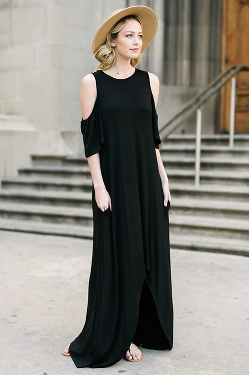 COLD SHOULDER MAXI DRESS