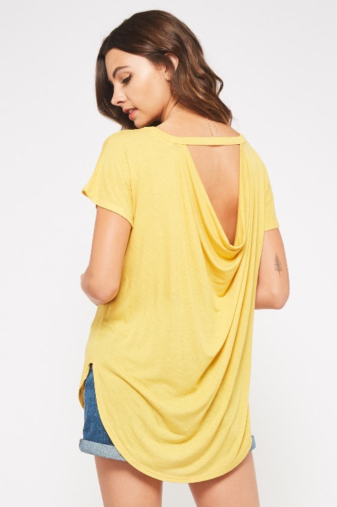 DRAPED BACK HIGH-LOW TOP
