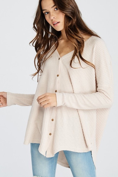 LONG SLEEVE THERMAL BUTTON DOWN TOP