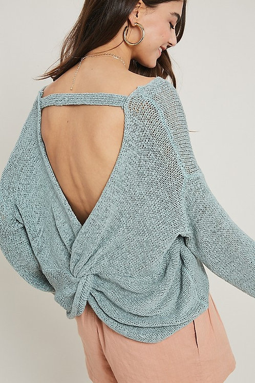 OPEN-BACK KNIT PULLOVER SWEATER