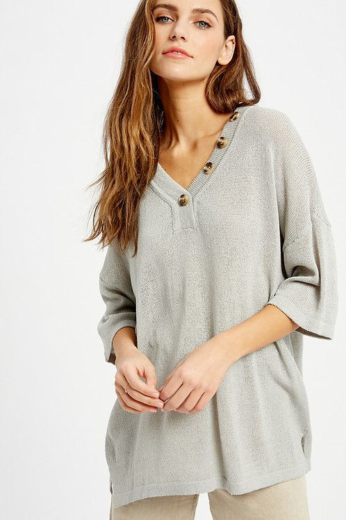 VNECK KNIT TOP WITH BUTTON DETAIL