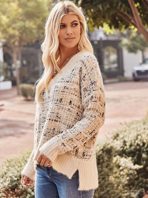 HIGH-LOW TWEED SWEATER