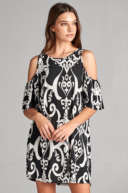 DAMASK COLD SHOULDER DRESS