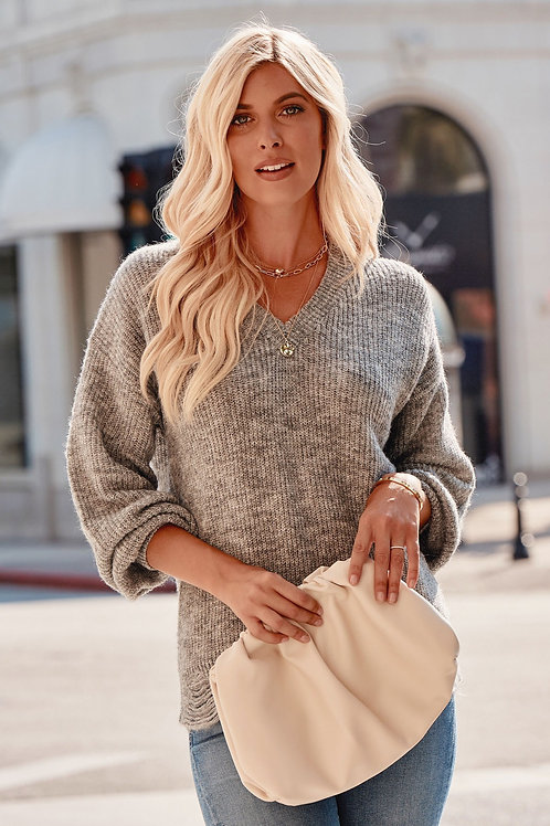 TWO TONE DISTRESSED HEM SWEATER