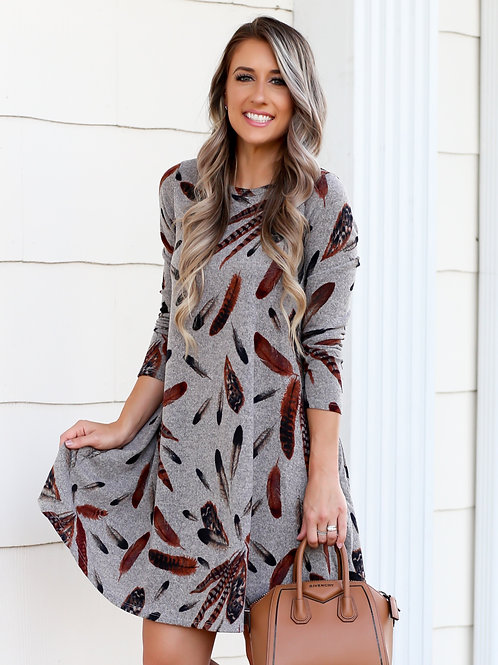 FEATHER SHIFT DRESS