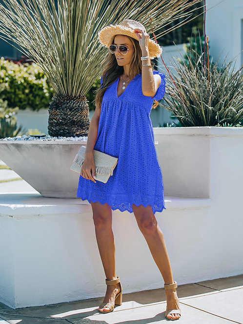 BLUE COTTON EYELET POCKETED DRESS