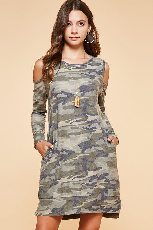 ELISA CAMO OPEN SHOULDER DRESS