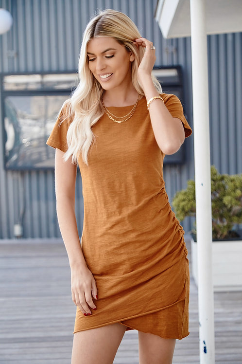 CARAMEL YOUR RUCHED WRAP DRESS