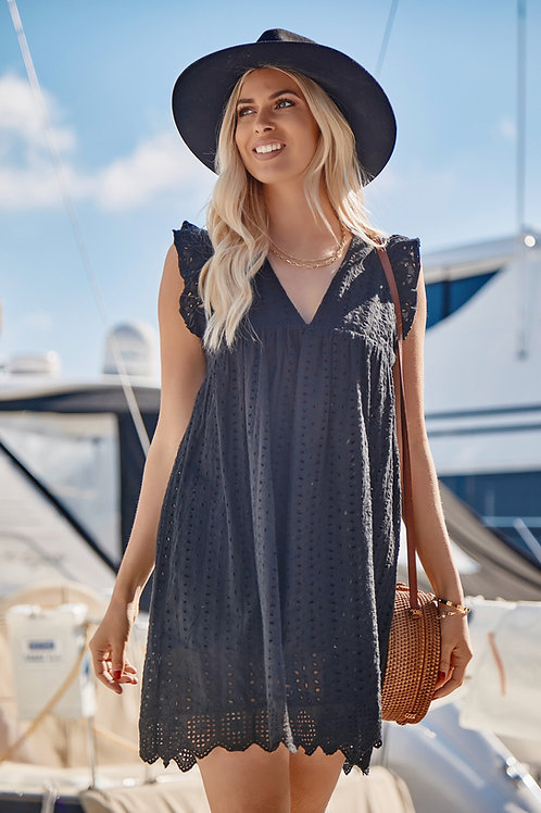COTTON EYELET POCKETED DRESS