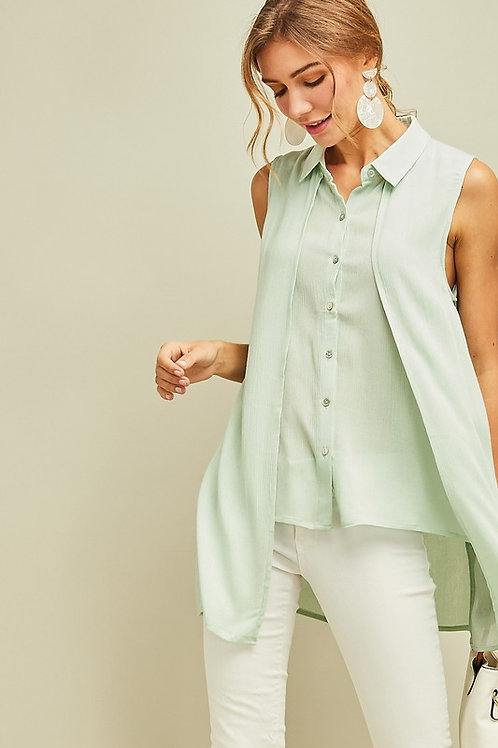 SOLID CRINCKLED BUTTON DOWN TOP