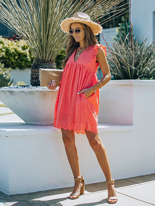 CORAL COTTON EYELET POCKETED DRESS