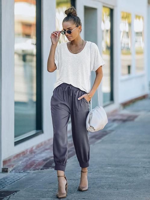 SLATE GREY ELASTIC WAIST PANTS