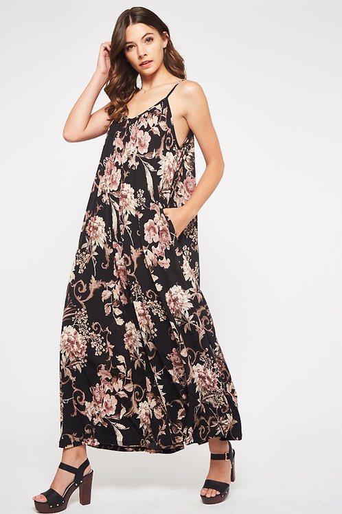 FLORAL PRINT PALAZZO JUMPSUIT WITH POCKETS