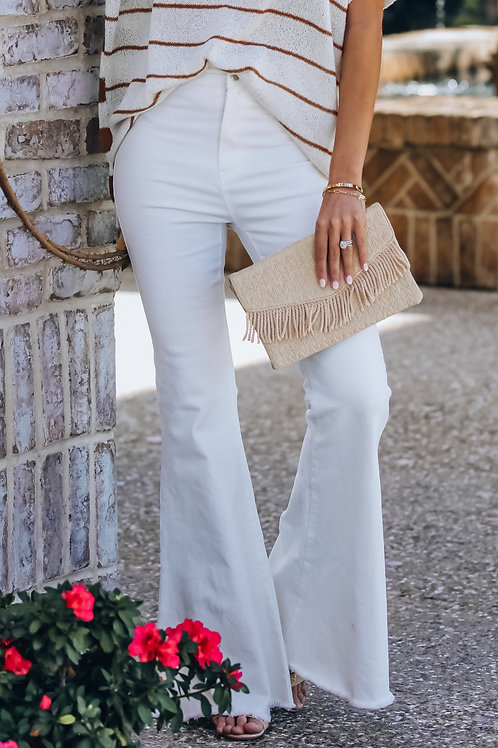 IVORY HIGH RISE FLARE JEANS