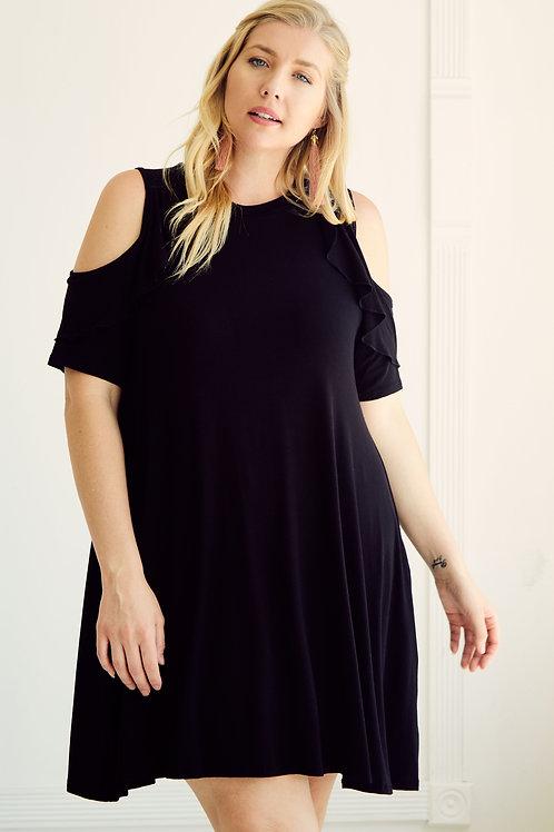 AMARA COLD SHOULDER SWING DRESS