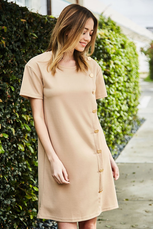 GOLDEN BUTTON SHIFT DRESS