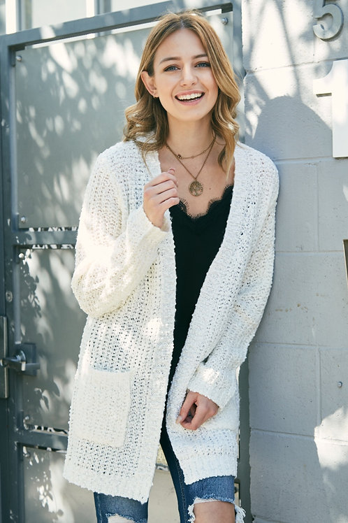 FRONT POCKET TEXTURED CARDIGAN