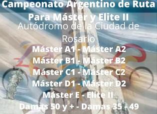 Reglamento del Campeonato Argentino de Ruta para Máster y Elite II - ROSARIO 2020