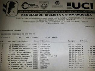 Contreras, Pilz y Rosas, campeones de Contra Reloj en Catamarca