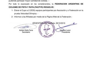 Campeonato Argentino Master de Pista de Mar del Plata: Se agregan cupos en la Velocidad Olímpica