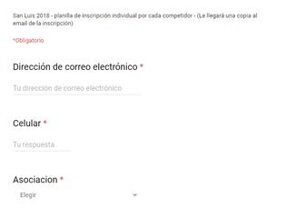 Formulario de Inscripción Online para el Campeonato Argentino de Ruta Juveniles y Menores de San Lui