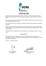Comunicado UCRA sobre la pandemia y la práctica del ciclismo