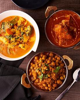 Butter Chicken, Chana Masala, Shahi Vege