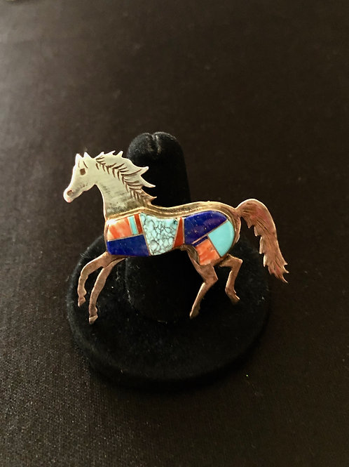 Sterling silver horse with Zuni multi-stone inlay, signed DB
