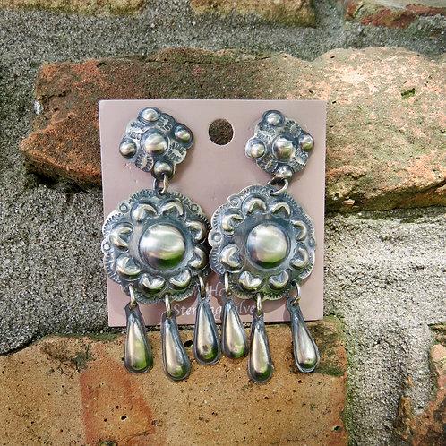 Silver stamped dangle earrings by Tim Yazzie